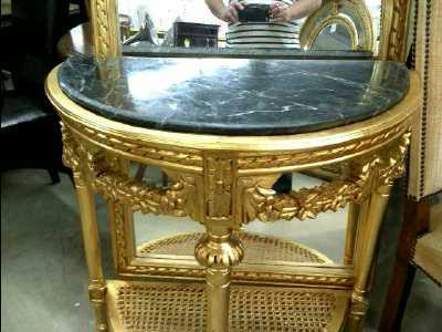 console doree marbre miroir 128 x 75 cm d 39 occasion. Black Bedroom Furniture Sets. Home Design Ideas